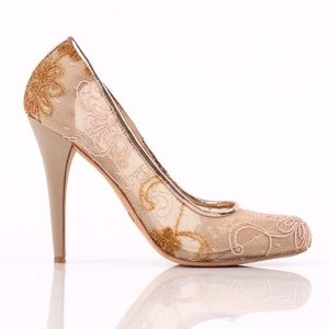 Badgley Mischka Floral Embroidered Mesh Pumps